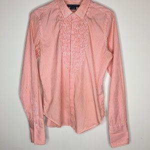 Ralph Lauren stripe ruffle long sleeve button down